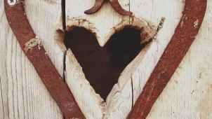 beige wooden heart hole