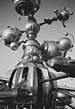 amusement park black and white business chrome
